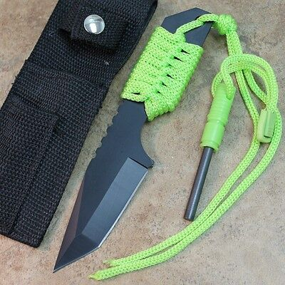 "7"" Tanto Zombie Survivor Hunting Knife With Fire Starter and Sheath 211178 zix"