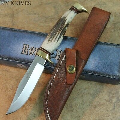 "7.25"" Rough Rider Genuine Stag Handle Hunting Knife W/ Leather Sheath RR1432 zix"