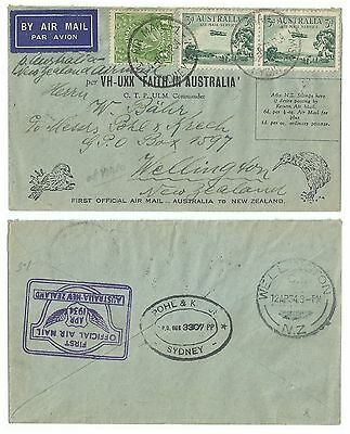 Australia 1934 First Official Airmail Australia To New Zealand