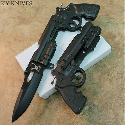 "9"" Spring Assisted Open Gun Style Pocket Knife High Detailed Handle 6956 zix"