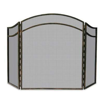 Uniflame 3 Fold Antique Rust Wrought Iron Arch Top Screen - S-1692