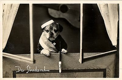 Bulldog student with pipe cute real photo postcard 1936