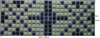 One piece of 264mm x 99mm Feature Mosaic Tile Borders - Blue and White - Pool
