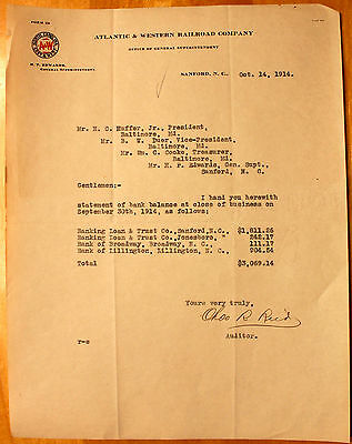 1914 Atlantic & Western Railroad Auditor's Bank Balance Letter