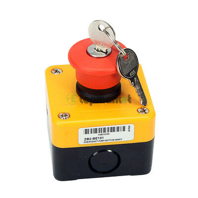 660V 10A Red Sign Security Weatherproof Emergency Stop Push Button Switch & Key
