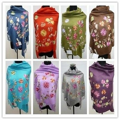 new brand embroidered wool blend scarf / shawl / Free Shipping