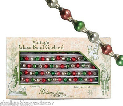 Glass Bead Garland Red Green Christmas lg5641 NEW Bethany Lowe Traditional Small