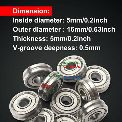 """10pcs 5*16*5mm Carbon Steel Embedded V623/603ZZ """"V"""" Groove Ball Pulley Bearing"""