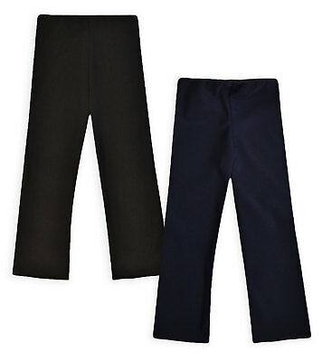 Girls Black Rib School Trouser Kids Baby New Stretch Plain Pants Ages 2-16 Years