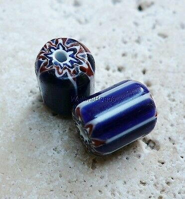 Chevron Vintage Stripe Trade Beads Blue White Red Cylinder 13 MM (2)