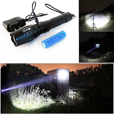 USA CREE UltraFire XM-L T6 LED Zoomable Flashlight 2000LM 18650 Battery+Charger
