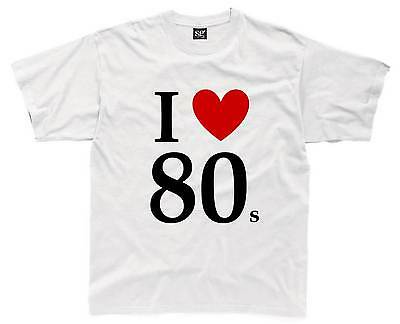I LOVE THE 80s Mens T-Shirt S-3XL White 80's Fancy Dress Costume Neon Outfit