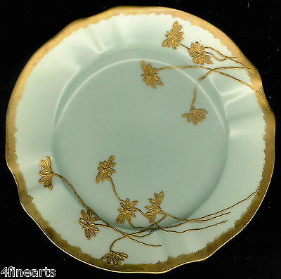 "MARTIAL REDON Limoges Plate (Saucer) 6 1/4"" - Gold on Avocado Green"