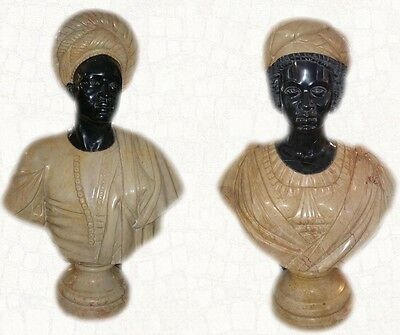 "Marble Hand Carved Huge 33"" Pr Blackamoor Gent & Woman Busts Late 19Th Century"