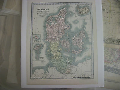 Original 1850 Map of Denmark by Ward & Lock, in Color,From Astronomy Atlas