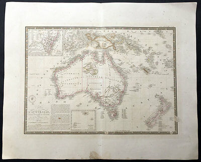 1826 (1834) Brue Large Antique Map of Australia and New Zealand