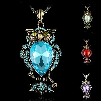 Large Crystal Rhinestone Animal Owl Cute Pendant Necklace Women Men Jewelry Gift
