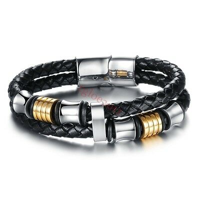 Black Genuine Leather With Silver Stainless Steel Mens Chain Bracelet 12mm8inch