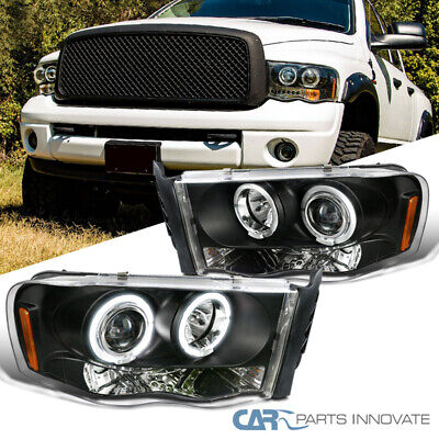 Dodge For 02-05 Ram 1500 2500 3500 Pickup Black LED Halo Projector Headlights