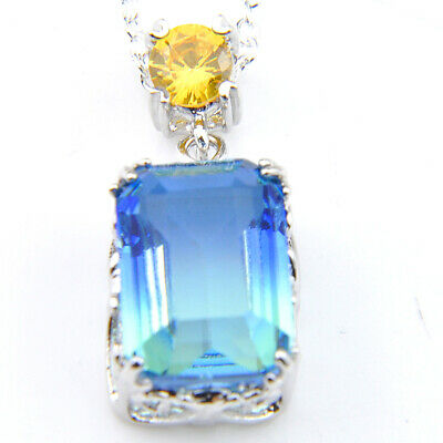 56 CT ! 925 Sterling Silver Plated Square Champagne Topaz Gems Necklace Pendant