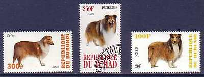 Collie Dogs 3 different stamps COL02