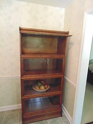 ANTIQUE 4 SECTION OAK BARRISTER STACKING LAWYERS BOOKCASE