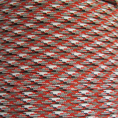 Red Camo 100 ft 550 Paracord 7 Strand Parachute Red White Gray Camouflage
