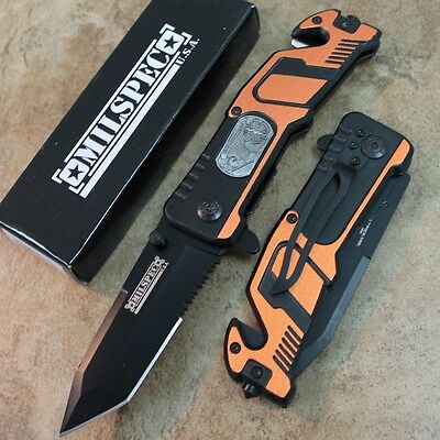 """8"""" Orange EMS Tactical Assisted Open Rescue Pocket Knife YC-S-8347-OR zix"""