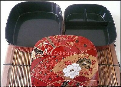 Japanese JUBAKO 2 Tier Box Red with Fan and Floral Design Lacquer /Made in Japan