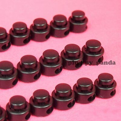 """Button ( Choose Qty ) Cordlock (2 holes 1/8"""") Black Round Cord Lock End Stop New"""
