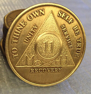 11 Month Bronze AA Medallion Alcoholics Anonymous Recovery Coin NA Chip