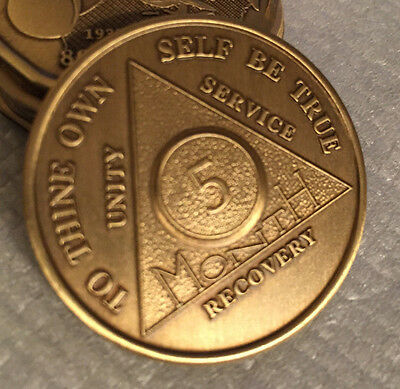 5 Month Bronze AA Medallion Alcoholics Anonymous Recovery Coin NA Chip