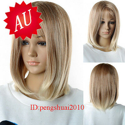 Sexy Middle-long Mix Blonde Brown Women's Cosplay Heat Resistant Hair Wig Wigs
