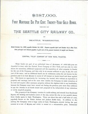 Prospectus, Seattle City Railway Co. of Seattle, Washington, 1890