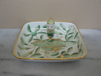 Herend Porcelain China Jardin Zoologique Zova Green Tray Dish