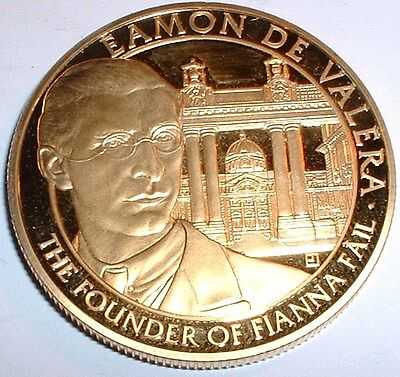 Superb Ireland - Irish Free State 24 Carat Gold Plated Eamon De Valera  Medal NR