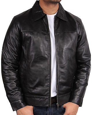 Brandslock Mens Genuine Leather motorbike jacket Classic Vintage Harrington