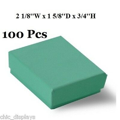 LOT OF 100 COTTON FILLED TEAL GIFT BOXES JEWELRY BOXES GREEN PARTY GIFT BOX 2x1