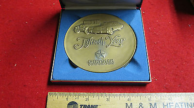 Super! Large Bronze Chrysler 50th Year Table Medal with Box 1925-1975
