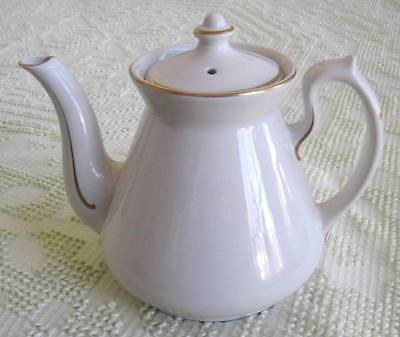 Hall China Philadelphia Ivory Five Cup Teapot with Gold Trim