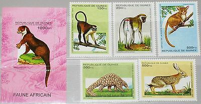 GUINEA 1995 1533-37 Block 495 1280-1285 African Animals Tiere Fauna Nature MNH