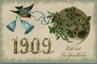 1909 holiday New Year's Day bells Bloom flower old postcard