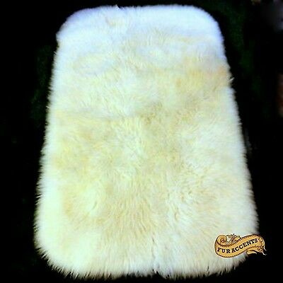 FUR ACCENTS Faux Fur Area Rug Luxury White Rectangle Rounded Corners All Sizes