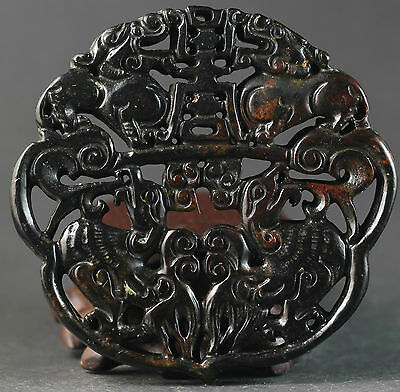 Chinese old jade hand-carved dragon design pendant 2.6 inch