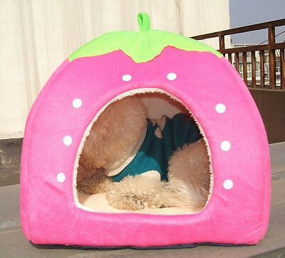 Soft Strawberry Pet Dog Bed House Kennel Doggy Warm Cushion Basket Pink Small