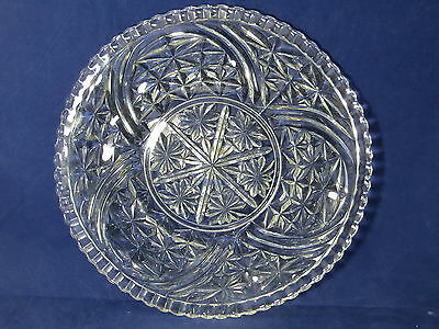 UNKNOWN PRESSED GLASS - Arches & Fan Cuts - LARGE ROUND SERVING PLATTER - 8F