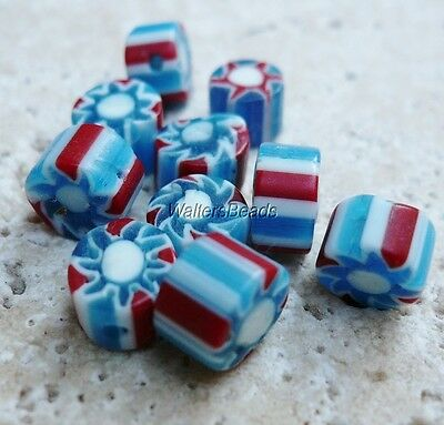 Chevron Vintage Stripe Trade Beads Blue White Red Cylinder 7 MM (10 Beads)