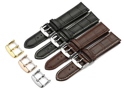 12mm-24mm Croco Grain Genuine Leather Watch Band Padded Calfskin Strap Buckle 20