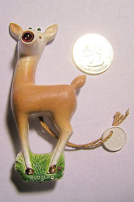 Vtg 1939 Rudolph Red Nose Reindeer Christmas Battery Light-Up Pin WORKING RL May
