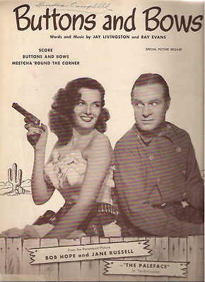 THE PALEFACE (1948) Buttons and Bows sheet music Bob Hope & Jane Russell cover